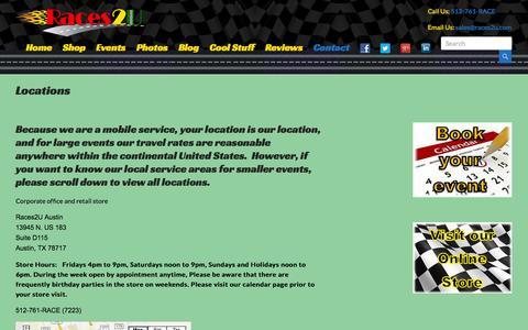 Screenshot of Locations Page races2u.com - Slot car racing locations | Slot Car Racing for Parties | Corporate Events | Team Building - captured Sept. 22, 2014