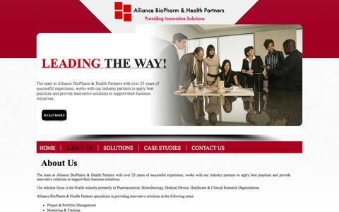 Screenshot of About Page ahealthpartners.com - Alliance BioPharm & Health Partners - captured Oct. 4, 2014