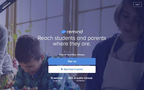 Screenshot of Signup Page remind.com - Remind - captured Feb. 25, 2016