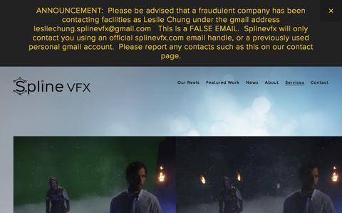 Screenshot of Services Page splinevfx.com - Services — Spline VFX - captured Feb. 23, 2016