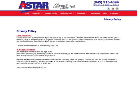 Screenshot of Privacy Page astarheating.com - Privacy Policy - captured Nov. 21, 2016