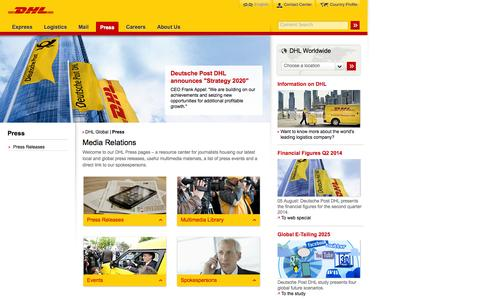 Screenshot of Press Page dhl.com - DHL | Press | English - captured Sept. 19, 2014