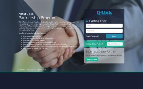 Screenshot of Login Page dlink.co.in - DLink Partner Portal - captured Oct. 1, 2018
