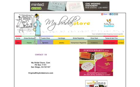 Screenshot of Contact Page mybridalstore.com - Contact My Bridal Store A Free Bridal Shopping Resource and Guide - captured Oct. 9, 2014