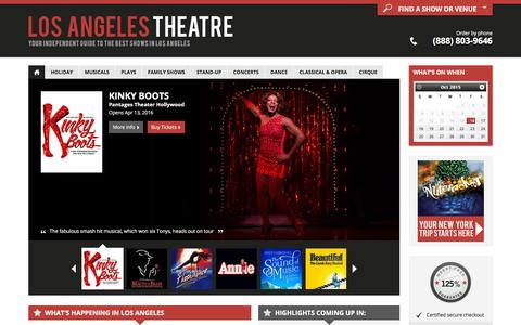 Screenshot of Home Page los-angeles-theatre.com - Los Angeles Theater: Broadway Shows, Musicals, Plays, Concerts in 2015/16 - captured Oct. 16, 2015