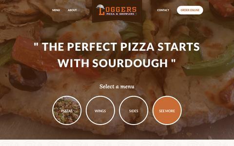 Screenshot of loggerspizza.com - Logger's Gourmet Pizza - captured Nov. 10, 2016