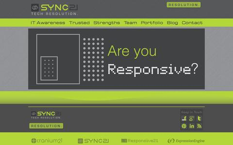 Screenshot of Home Page sync21.com - Sync21.com | Tech Resolution. - captured Sept. 30, 2014
