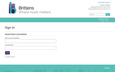 Screenshot of Login Page brittensmusic.co.uk - Brittens Music - captured July 30, 2016
