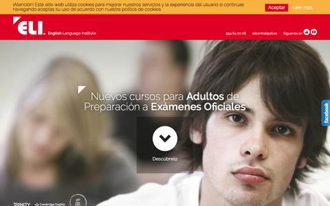 Screenshot of Home Page eli.es - Academia de Inglés en Sevilla, Málaga y Granada - captured Dec. 6, 2015