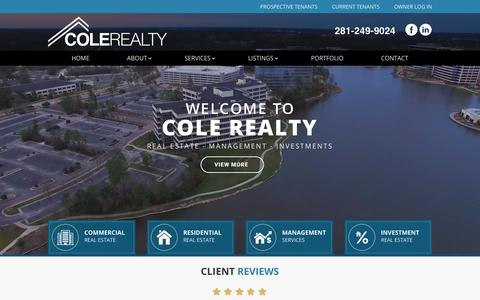 Screenshot of Home Page colerealty.com - Home | Cole Realty - captured Sept. 29, 2018