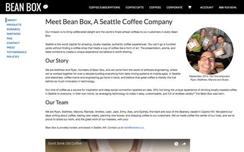 Screenshot of About Page beanbox.co - Seattle Coffee Company | Bean Box - captured Feb. 15, 2018
