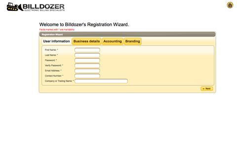 Screenshot of Signup Page billdozer.com - Billdozer - Electronic Billing Specialists - captured Oct. 7, 2014