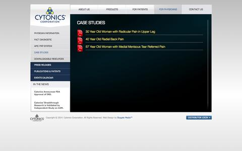 Screenshot of Case Studies Page cytonics.com - CytonicsCase Studies | Cytonics - captured Sept. 12, 2014