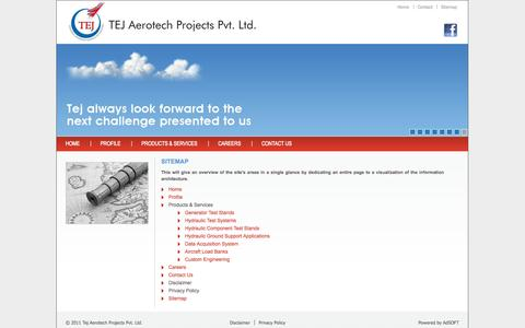 Screenshot of Site Map Page tejaerotech.com - Tej AeroTech : Sitemap - captured Oct. 9, 2014