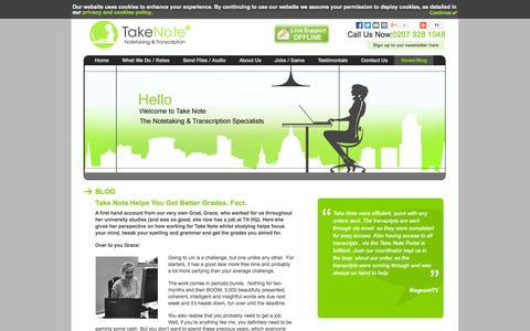 Screenshot of Blog takenotetyping.com - Take Note Blog - captured Oct. 9, 2014