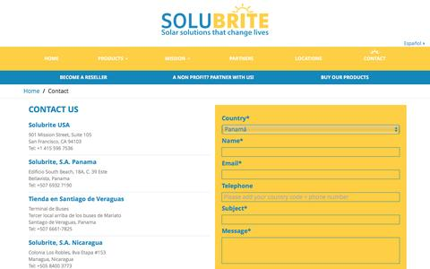 Screenshot of Contact Page solubrite.com - Contact - Solubrite - captured Jan. 11, 2016