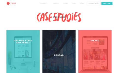 Screenshot of Case Studies Page tintup.com - TINT Case Studies - captured Nov. 25, 2015