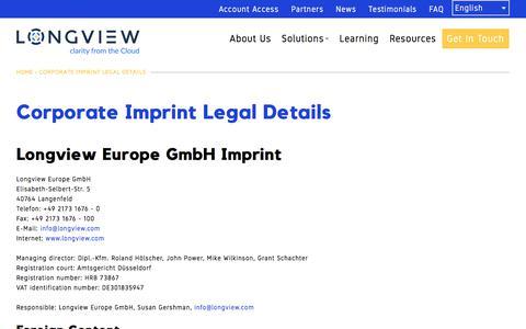 Corporate Imprint Legal Details | Longview