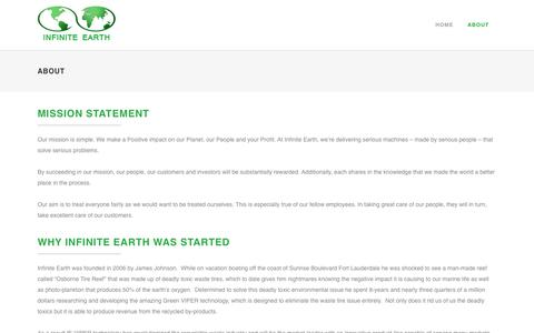 Screenshot of About Page infiniteearth.org - Infinite Earth |   About - captured Nov. 6, 2018