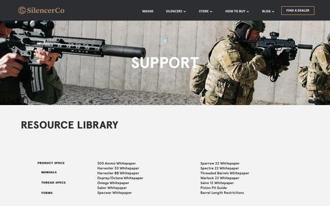 Screenshot of Support Page silencerco.com - Silencer Product Support Resource Library | SilencerCo - captured Jan. 20, 2017