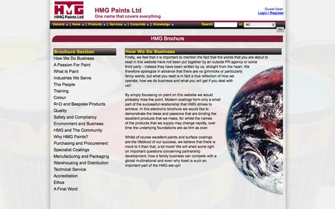 Screenshot of About Page hmgpaint.com - Product Guide - Brochure - HMG Paints Limited - captured Oct. 1, 2014