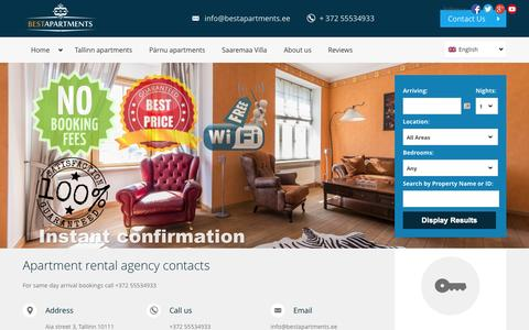 Screenshot of About Page bestapartments.ee - Tallinn apartment rental agency - Best Apartments contacts - captured Oct. 30, 2014
