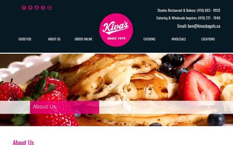 Screenshot of About Page kivasbagels.ca - Kiva's Bagel Bakery & Restaurant | The Best Bagel Stop in Toronto! - captured Oct. 15, 2018