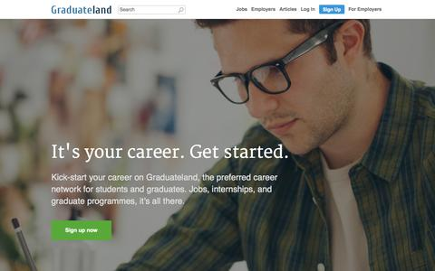 Screenshot of Home Page graduateland.com - Internships and Graduate Jobs - Graduateland - captured June 16, 2015
