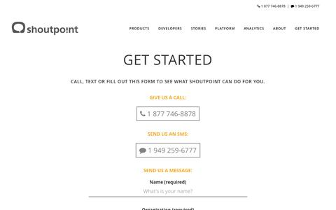 Screenshot of Contact Page shoutpoint.com - Get Started - Shoutpoint - captured Dec. 3, 2016