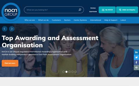 Screenshot of Home Page nocn.org.uk - Homepage - NOCN - captured Sept. 20, 2018