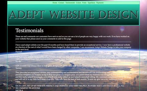 Screenshot of Testimonials Page adeptwebsitedesign.com - Adept Website Design & Hosting - Testimonials Page - captured Feb. 5, 2016