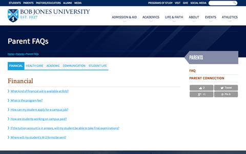 Screenshot of FAQ Page bju.edu - Parent FAQs | Bob Jones University - captured Sept. 18, 2014
