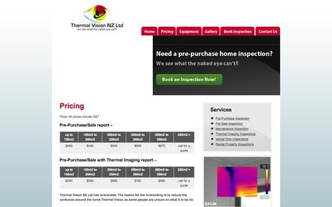 Screenshot of Pricing Page thermalvision.co.nz - Pricing « Thermal Vision - captured Oct. 9, 2014