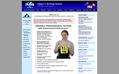 Screenshot of Home Page drivingnt.com - Driving lessons in Darwin NT Australia - Zippers Driving School - captured May 13, 2016