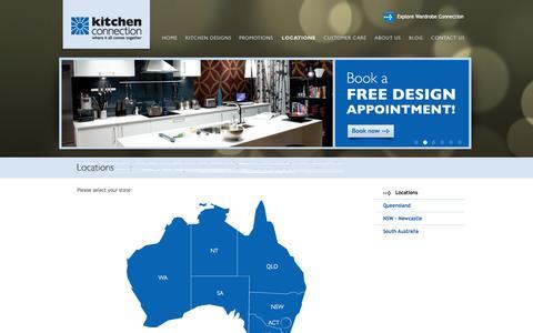 Screenshot of Locations Page kitchenconnection.com.au - Kitchen, Kitchen Benchtops  in Brisbane, Adelaide, Newcastle & Gold Coast - captured Oct. 4, 2014