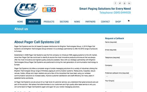 Screenshot of About Page pagercall.co.uk - About Us Pager Call Systems - captured Sept. 26, 2018