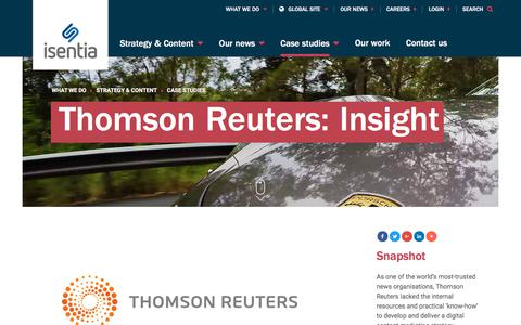 Screenshot of Case Studies Page isentia.com - Thomson Reuters: Insight  - Isentia website - captured April 1, 2018