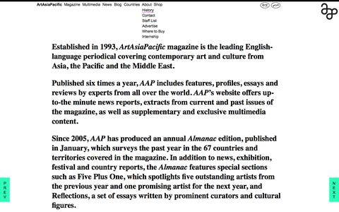 Screenshot of About Page artasiapacific.com - ArtAsiaPacific: History - captured Sept. 25, 2014
