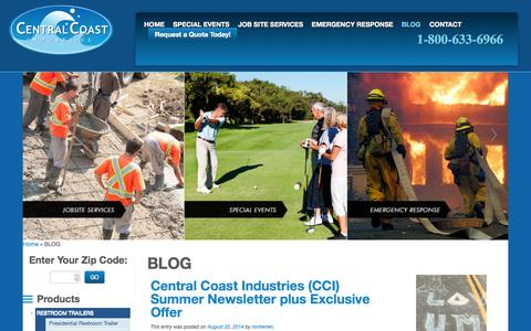 Screenshot of Blog ccirentals.com - Blog about Portable Sanitation Equipment Rental, Sales & Services | CCI - captured Oct. 2, 2014