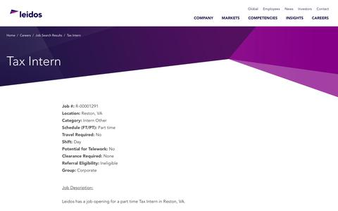 Screenshot of Jobs Page leidos.com - Tax Intern in Reston, VA - Leidos - captured Jan. 29, 2019