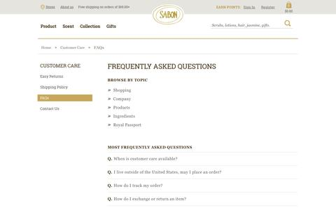 Screenshot of FAQ Page sabonnyc.com - FAQs - captured July 27, 2018