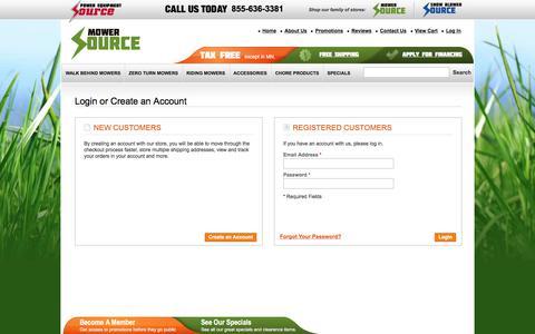 Screenshot of Login Page mowersource.com - Customer Login | Mower Source - captured Aug. 18, 2017