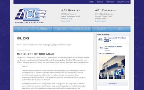 Screenshot of Blog acimechsales.com - Blog | ACI Mechanical & HVAC Sales, serving Portland and Seattle - captured Oct. 4, 2014