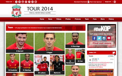 Screenshot of Team Page lfctour.com - Team - Liverpool FC - captured Oct. 31, 2014
