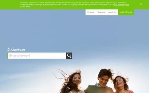 Screenshot of Home Page starhub.com - StarHub Ltd Official Website - captured Sept. 18, 2014