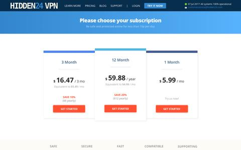 Screenshot of Pricing Page hidden24.com - Please choose your subscription - Hidden24 - captured July 7, 2017