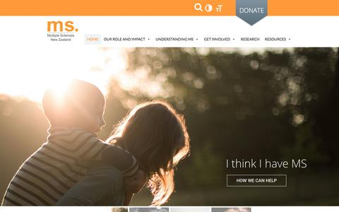 Screenshot of Home Page msnz.org.nz - Home - Multiple Sclerosis Society of NZMultiple Sclerosis Society of NZ - captured Oct. 23, 2017