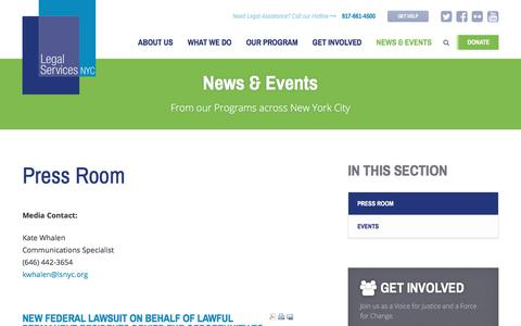 Screenshot of Press Page legalservicesnyc.org - Press Room - Legal Services NYC - captured Jan. 29, 2018