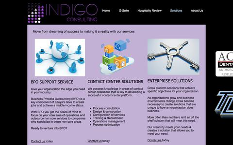 Screenshot of Services Page indigoconsult.com - Consulting Services - captured Oct. 5, 2017