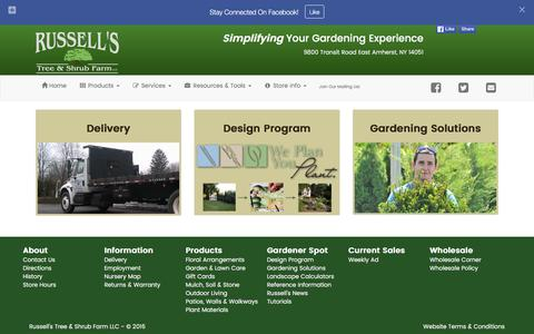 Screenshot of Services Page russellsny.com - Services - Russells Tree and Shrub Farm - captured Feb. 22, 2016